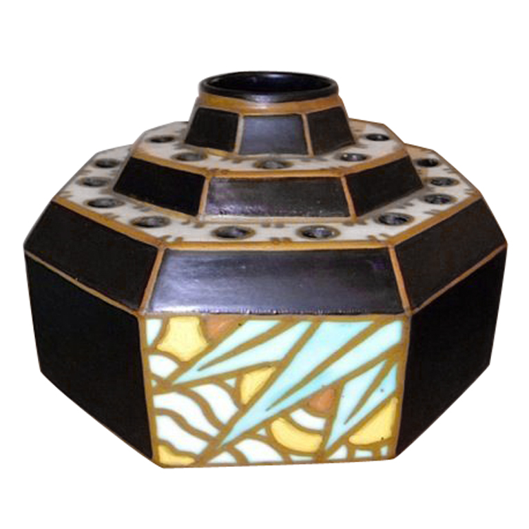 Charles Catteau Octagon Stepped Art Deco Vase On Sale Now Art