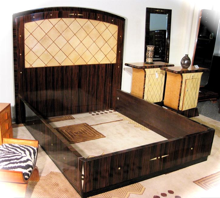 Art Deco Queen Size Bed Macassar And Parchment Bedroom