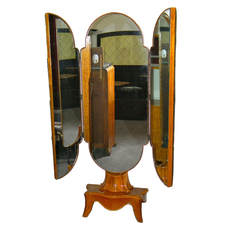 Unusual tri fold stand up antique mirror bedroom art for Vintage floor length mirror