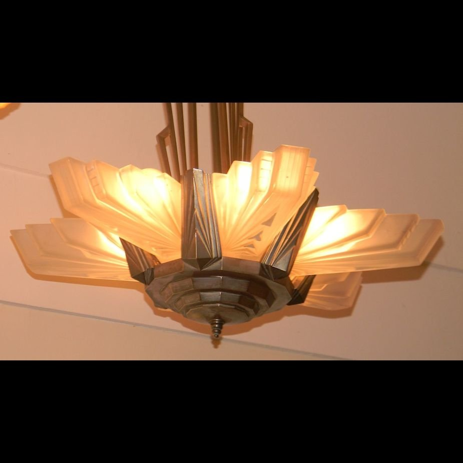 Important Large French Art Deco Atelier Petitot Chandelier
