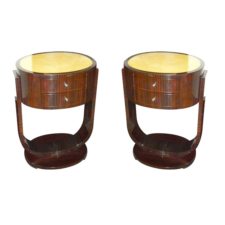 Custom Art Deco Macassar Nightstands Or End Tables (a Pair)