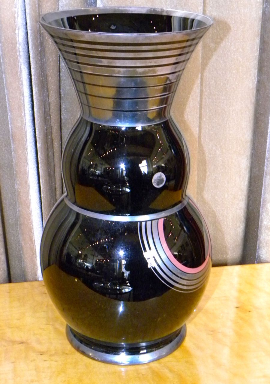 Art Deco Czech Black Modernist Czech Glass Vase By Hem