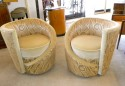 Hollywood Glamour Art Deco Unique Swivel Chairs