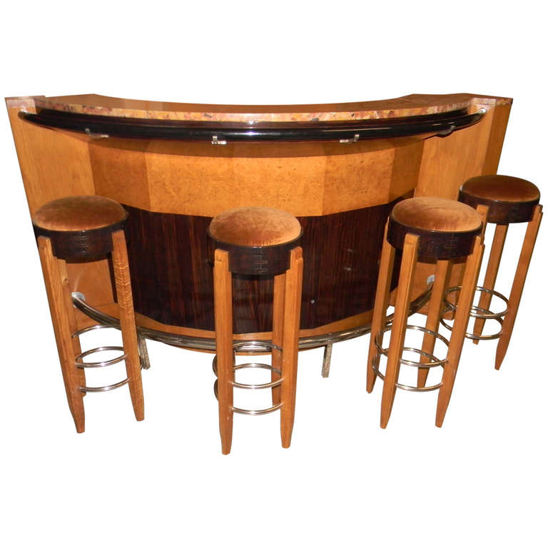 French Art Deco Bar Stand behind with stools
