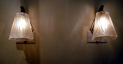 Very deco geometric style glass and nickel sconces