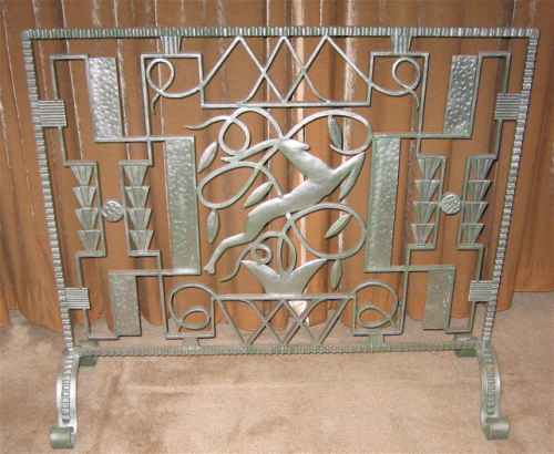 Art deco fireplace screen Antique Brass Peacock Art Deco Iron Fireplace Screen Leaping Gazelle Art Deco Collection Art Deco Iron Fireplace Screen Leaping Gazelle Sold Items