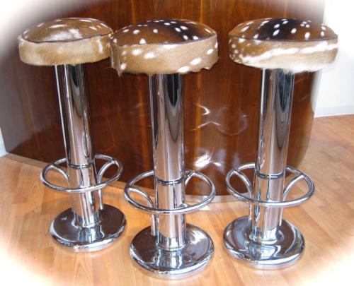 Art Deco Barstool Trio • Chrome and Antelope