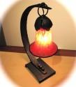 Art Deco Iron Table Lamp • Bohemian Glass Shade