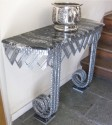 Art Deco Iron & Marble Console With Matching Mirror