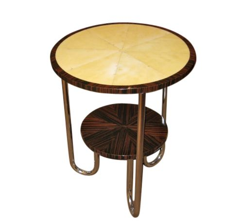 Art Deco Modernist Side Table Macar And Parchment