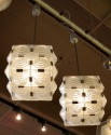 Pair of French Cubist Glass Chandeliers