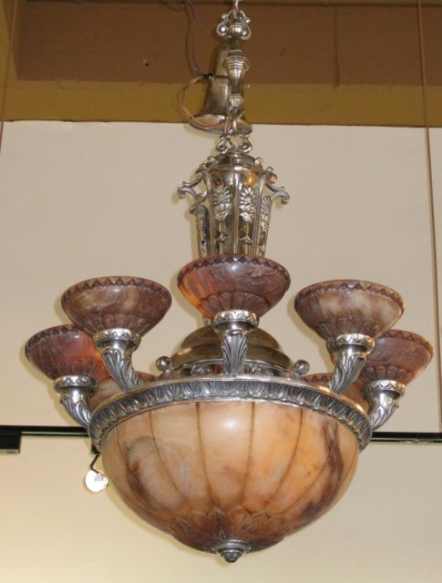 Rare Art Deco Alabaster Chandelier - Rare Art Deco Alabaster Chandelier Sold Items Chandeliers Art