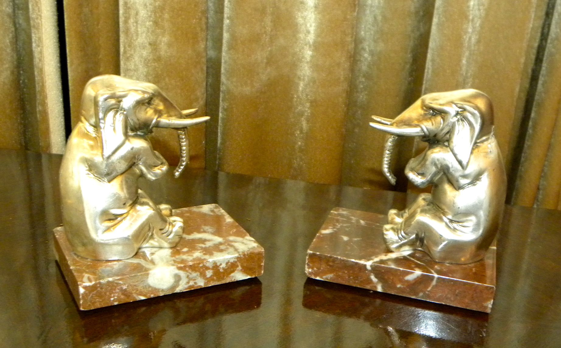 art deco elephant bookends french 1930 39 s sold items statues art deco collection. Black Bedroom Furniture Sets. Home Design Ideas