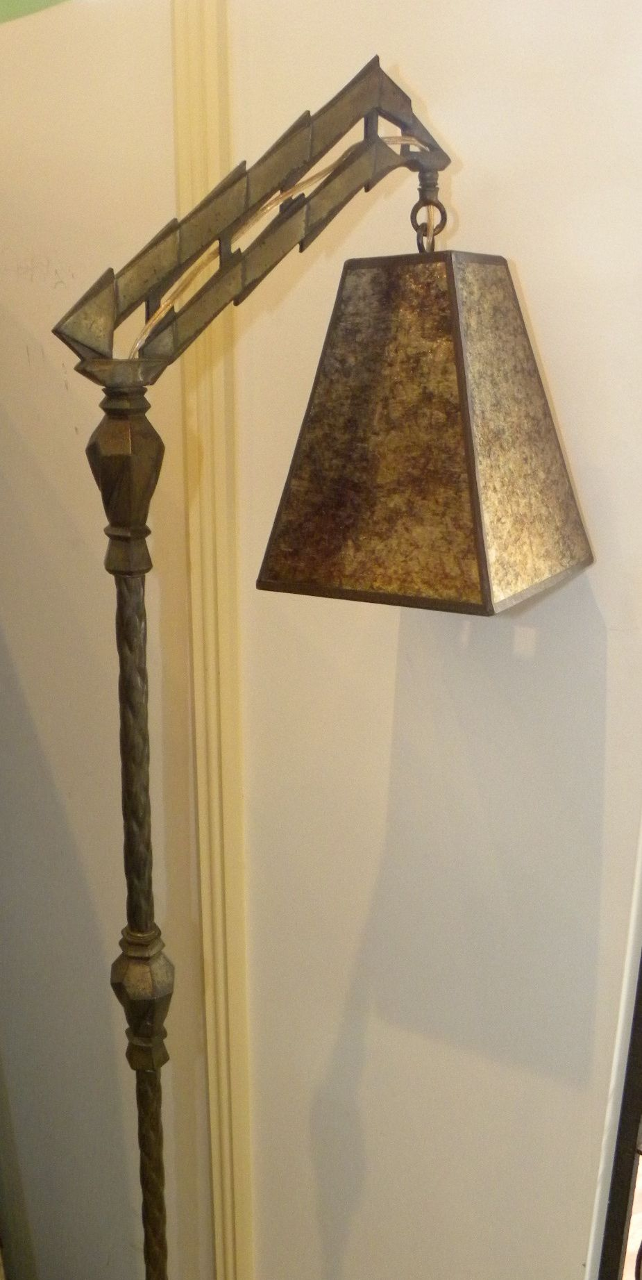 American Geometric Inspired Floor Lamp With Mica Shade