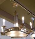 Stylized Theatrical Bronze Art Deco Chandelier