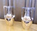 Simple Art Nouveau silver plate metal urns