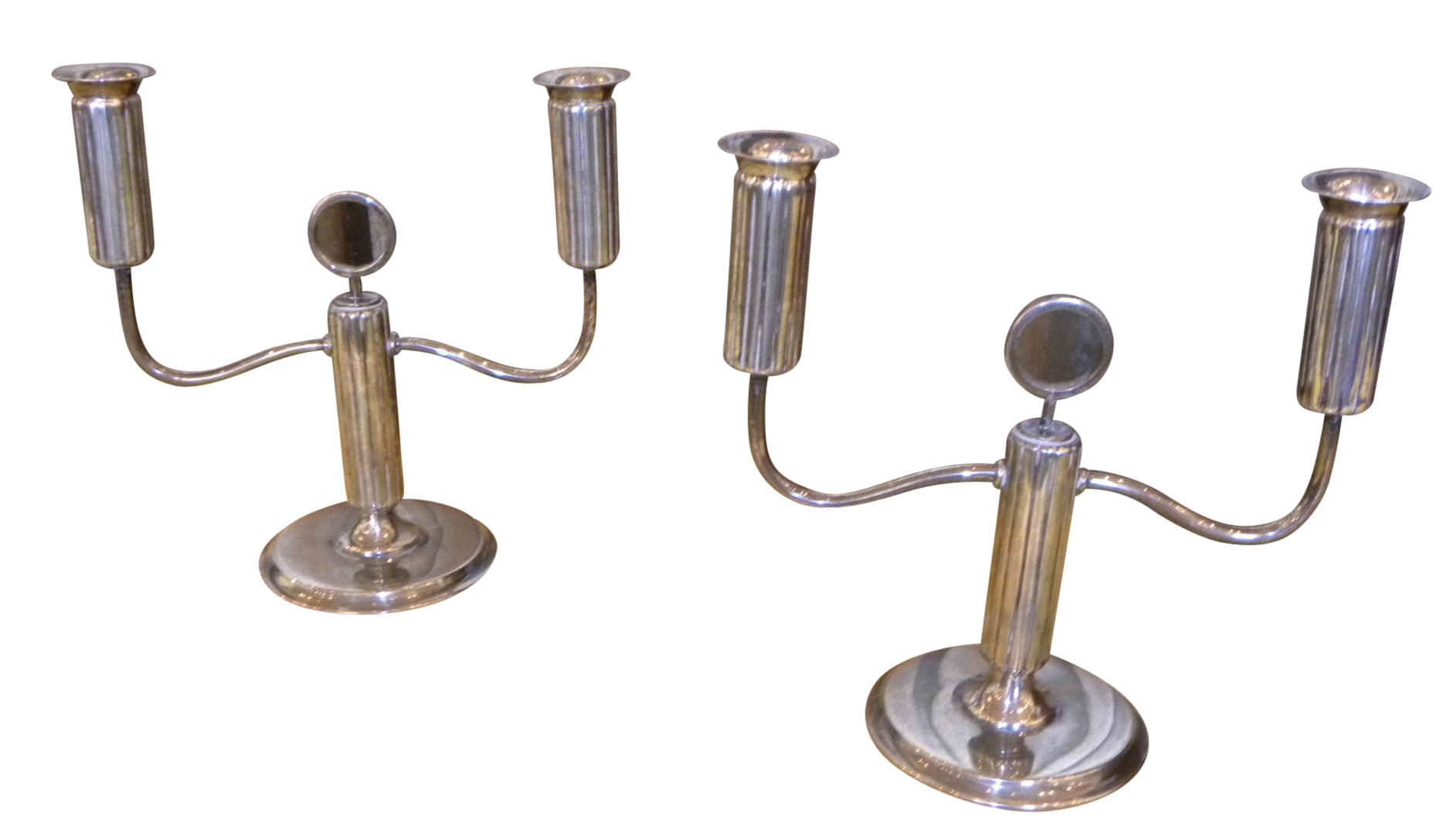 Silver fluted Art Deco Candlesticks