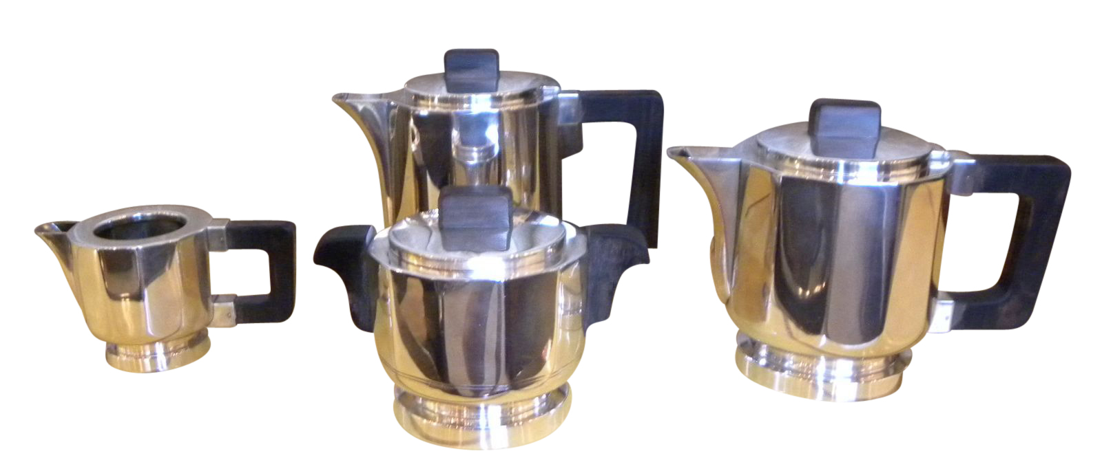 Stunning French Art Deco Fluted 4 Piece Coffee/Tea Service