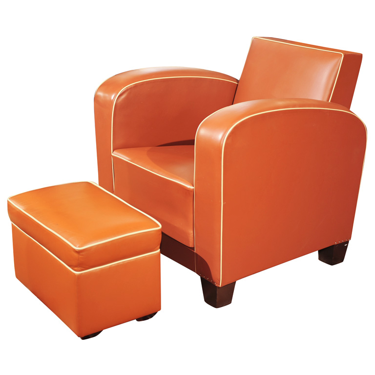 Super Art Deco Brown Leather Club Chair And Ottoman Sold Items Alphanode Cool Chair Designs And Ideas Alphanodeonline