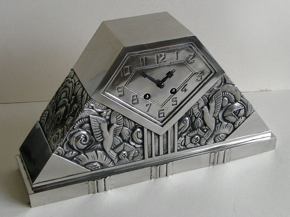 French clock silver on bronze by c. terras sold items art deco