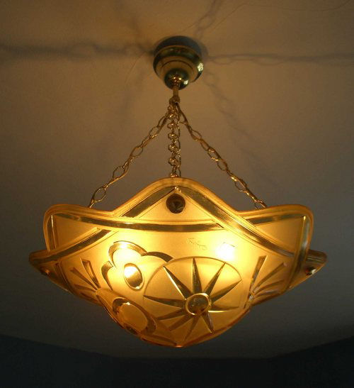 1930's French by Degue yellow/gold Geometric hanging chand