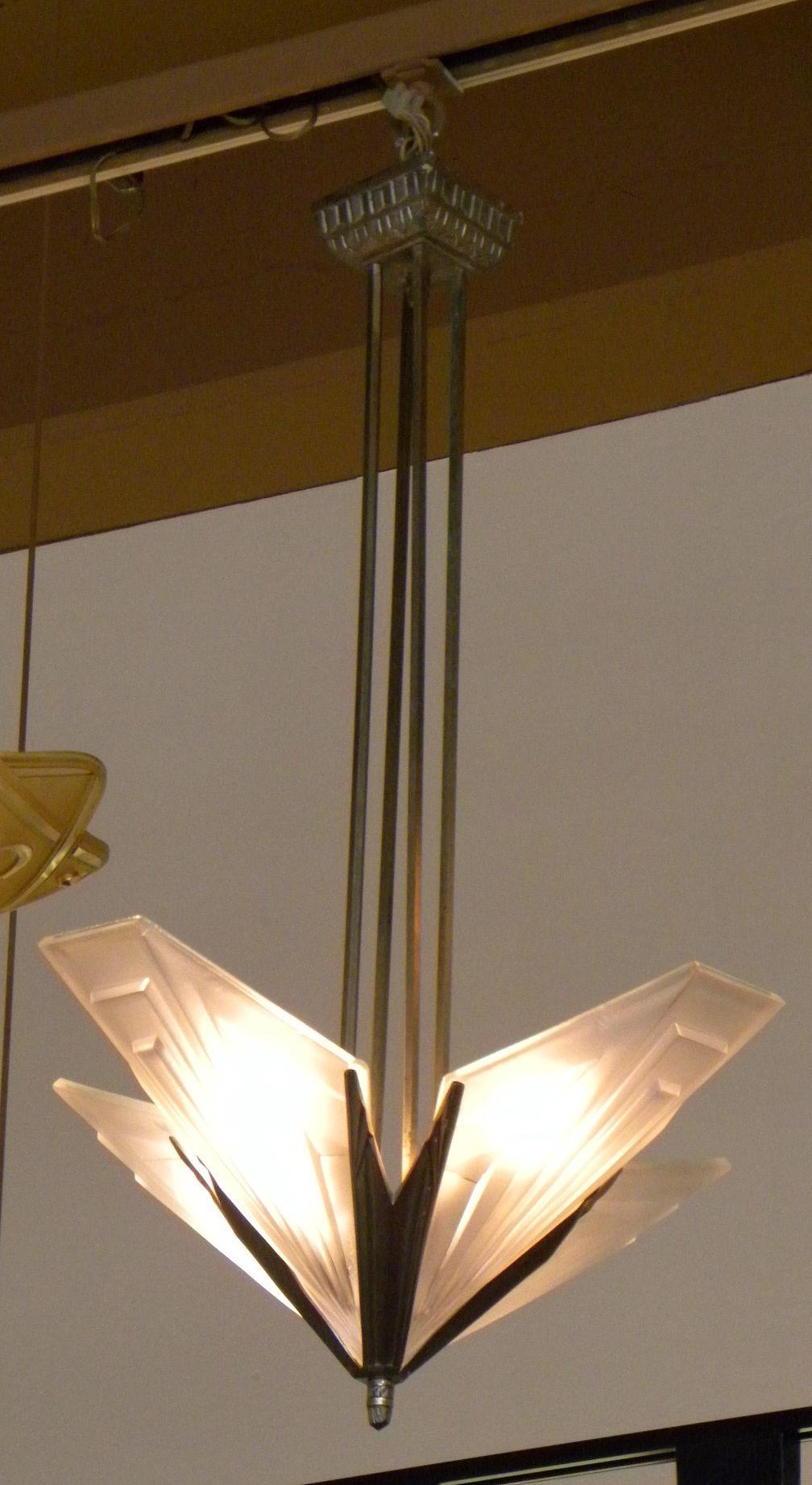 art deco modernist degue starburst hanging ceiling light sold items chandeliers art deco. Black Bedroom Furniture Sets. Home Design Ideas