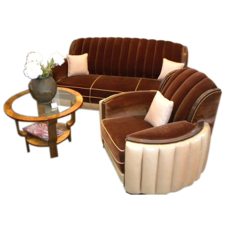 american art deco sofa suite great hollywood style. Black Bedroom Furniture Sets. Home Design Ideas