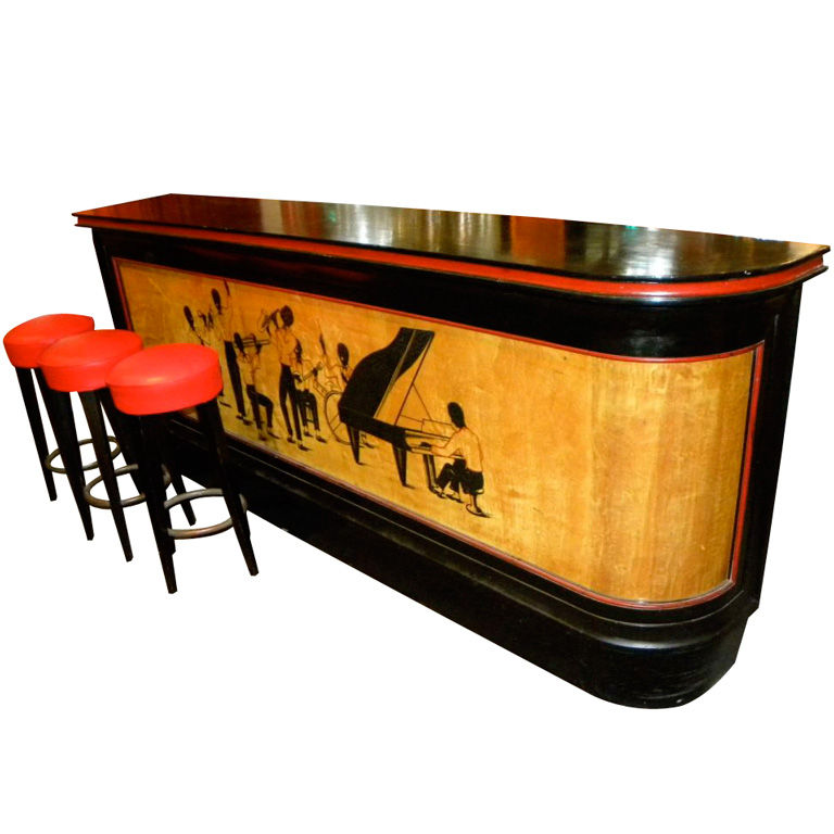 Historically significant Art Deco Bar with stylized Black Jazz Musicians
