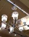 Stylish Art Deco Chrome Chandelier with Dog Motif!