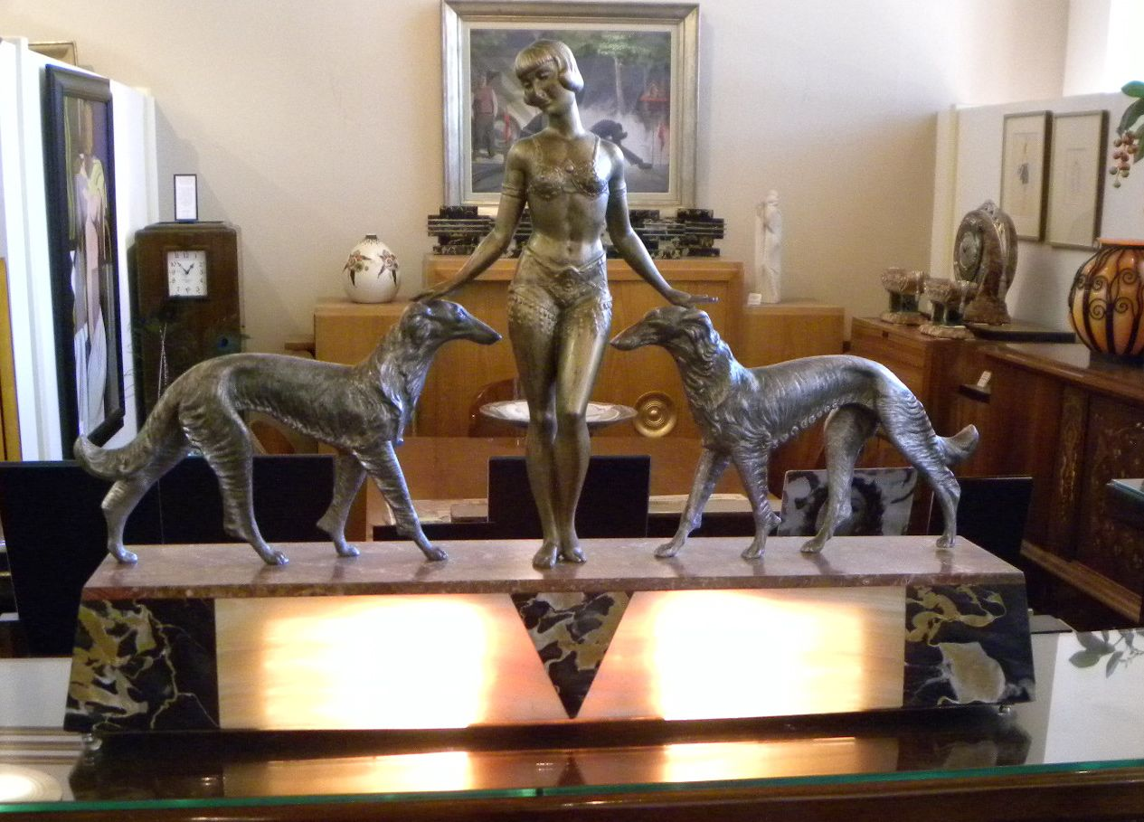 Art deco sculpture lamp of female with borzoi dogs by for Original sculptures for sale