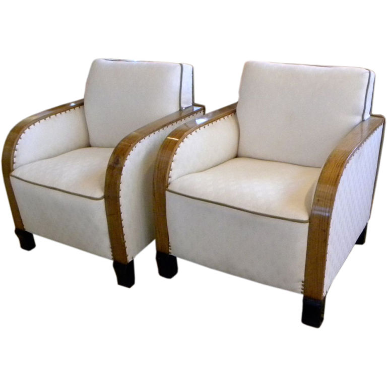 Attirant Art Deco Club Chairs With Diamond Fabric
