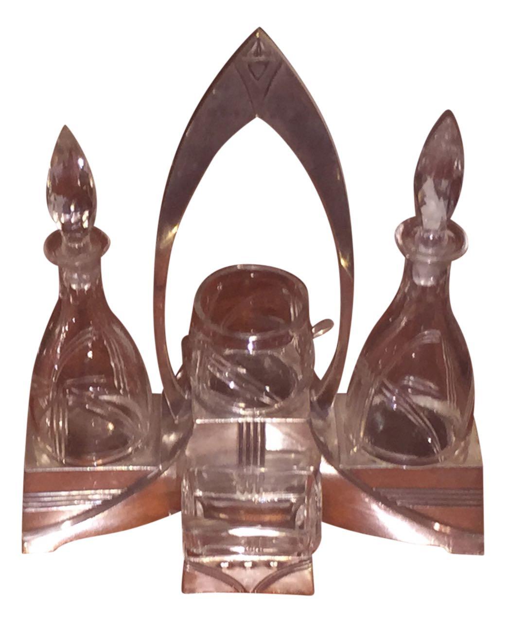 Art Nouveau to Art Deco WMF silver-plate oil-vinegar cruets circa 1920