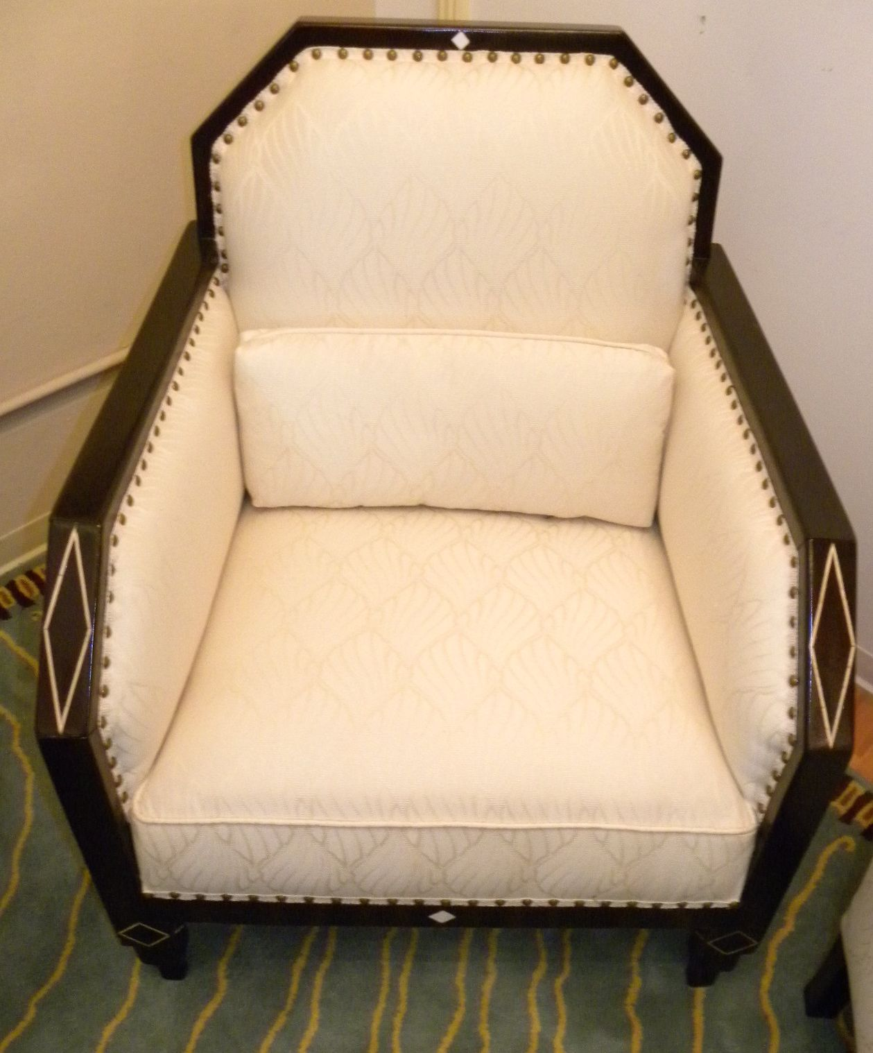 Art deco library club living room chairs with period style for Art deco style fabric