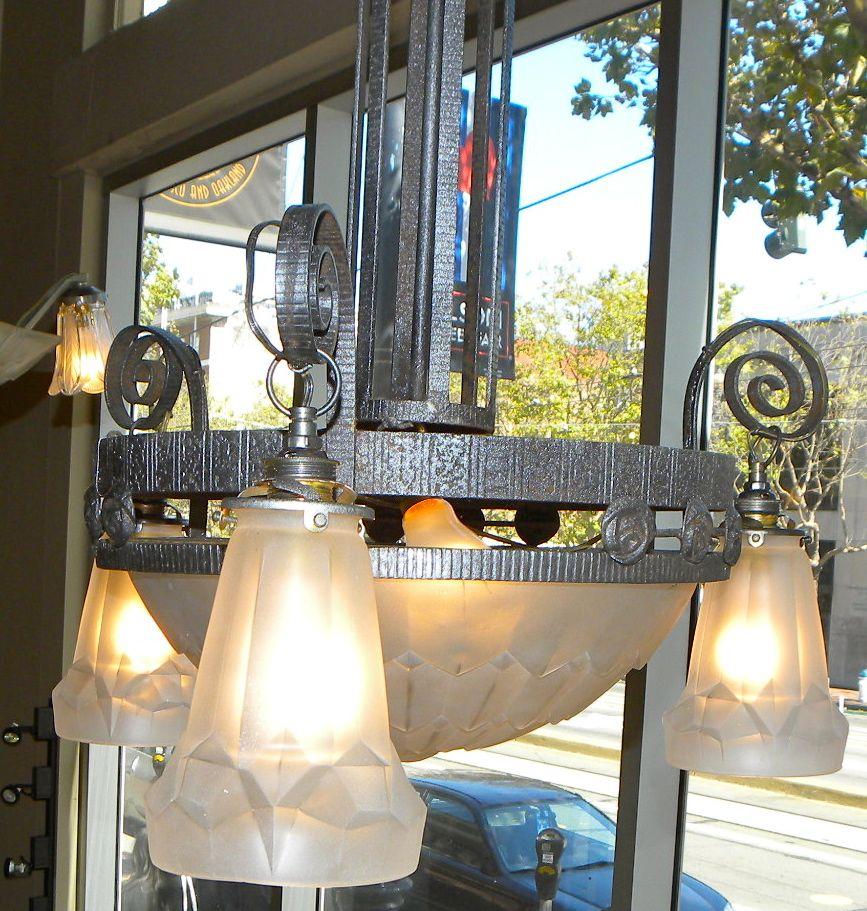 Degue French Art Deco Iron Chandelier Chandeliers Art