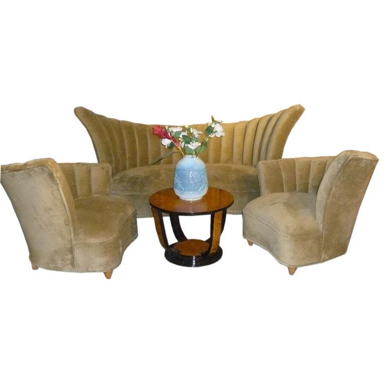 Art Nouveau Walnut 3 Piece Bedroom Suite: Glamourous Elegant Art Deco Style 3 Piece Sofa Suite