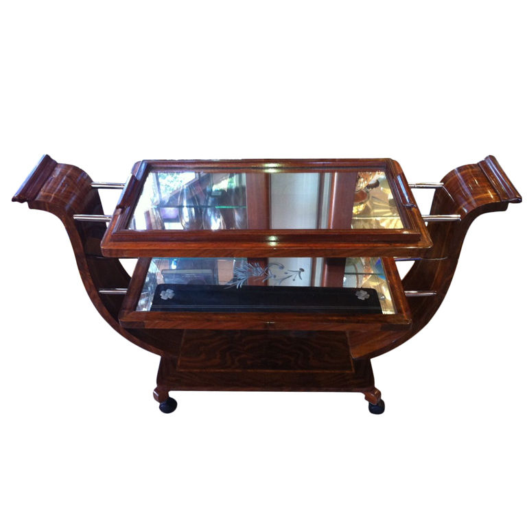 Fabulous Art Deco bar or dessert cart with removable tray