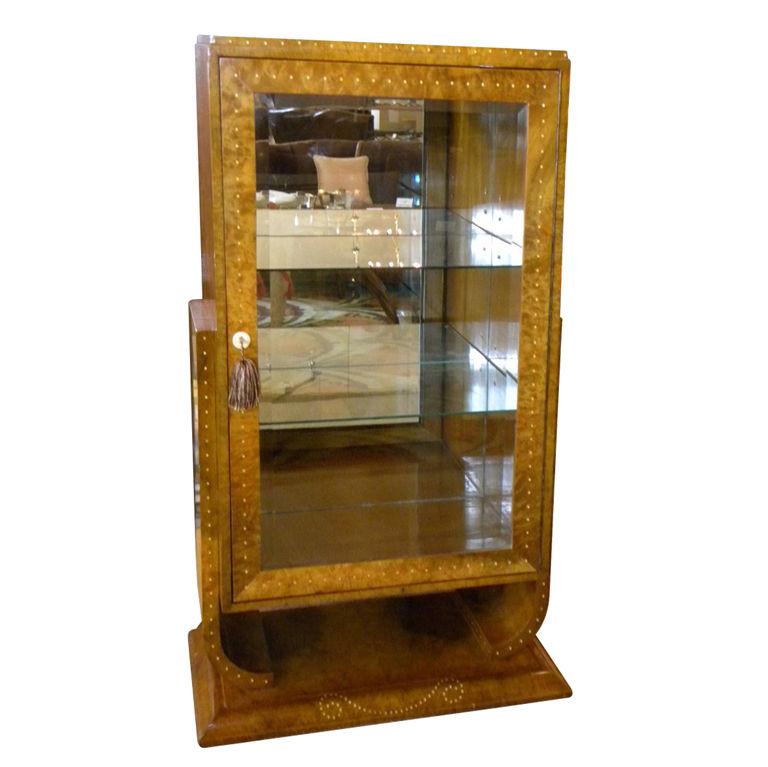 Art Deco Display Curio Bar Cabinet In Ruhlmann Style Desks Cabinets Art Deco Collection