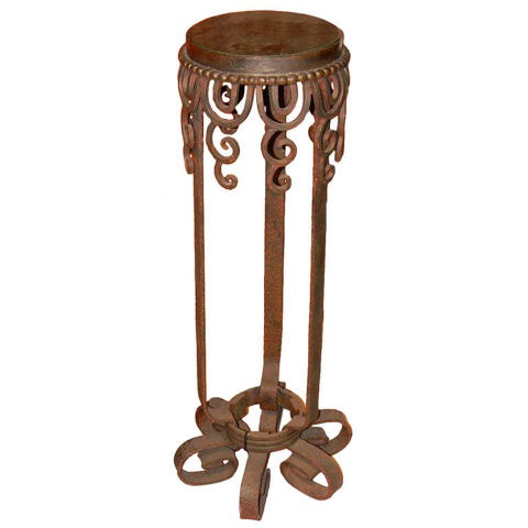 Iron and marble display-plant stand
