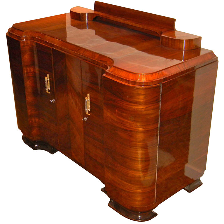 amazing quality art deco walnut curved buffet or storage. Black Bedroom Furniture Sets. Home Design Ideas