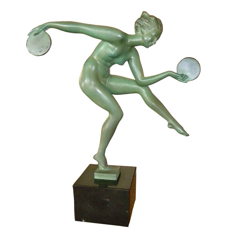Art Deco sculpture by Derenne, the Disk Dancer, a LeVerrier edition