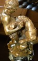 Original bronze on marble by Edward Drouot Man fighting tiger