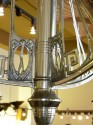 Art Nouveau Nickel chandelier with Schneider glass true Modernism