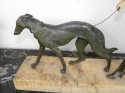 French statue of Woman and Borzoi dog, signed: S Cali