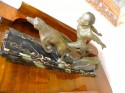 French Art Deco Running Male with Dogs on the hunt by Valderi