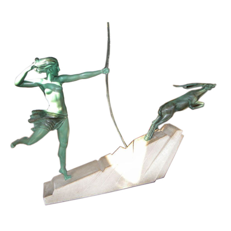 Spectacular Art Deco Diana Huntress and Leaping Antelope by Le Verrier Demarco