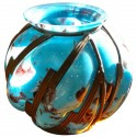 Original Blue spotted glass with iron in Lorraine style vase