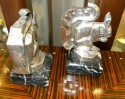 French Art Deco cubist squirrel bookends by Le Verrier