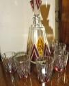 Czech Modernist Decanter set with 6 glasses two-tone