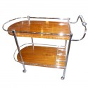 Outstanding Bar cart with wood and chrome in restored condition