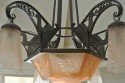 Spectacular Muller Freres Luneville Peacock Art Deco Chandelier